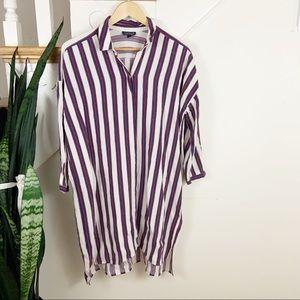 topshop blue white red button down shirt dress 8